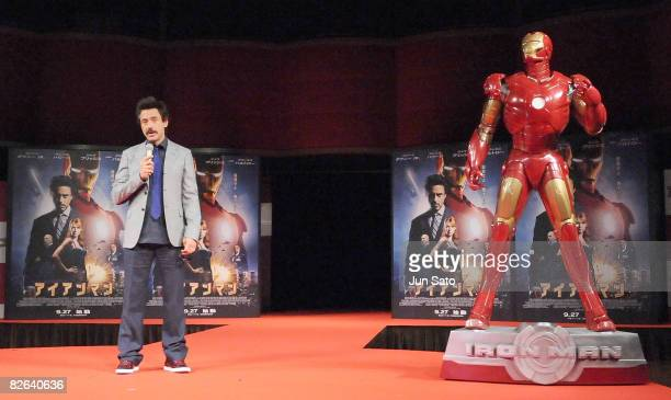 Actor Robert Downey Jr attends the Iron Man Press Conference at Shinagawa Prince Hotel on September 3 2008 in Tokyo Japan The film will open on...