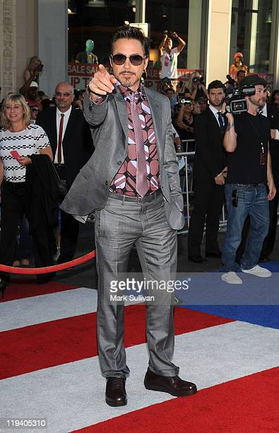 Actor Robert Downey Jr attends the Los Angeles Premiere of Captain America The First Avenger at the El Capitan Theatre on July 19 2011 in Hollywood...