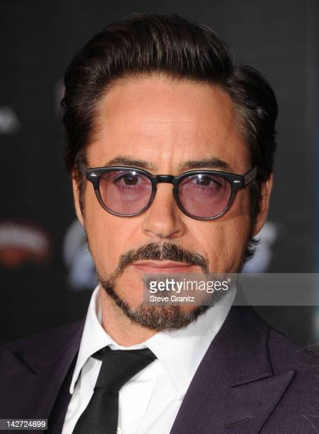 Actor Robert Downey Jr attends the Los Angeles premiere of Marvel's Avengers at the El Capitan Theatre on April 11 2012 in Hollywood California