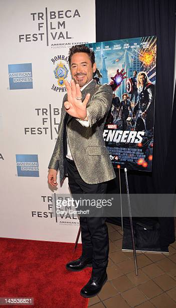 """Actor Robert Downey Jr. Attends the """"Marvel's The Avengers"""" premiere during the closing night of the 2012 Tribeca Film Festival at BMCC Tribeca PAC..."""