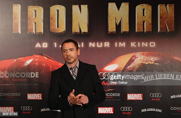 "Actor Robert Downey Jr. Attends the photocall to the movie ""Ironman"" at the Ritz-Carlton on April 22, 2008 in Berlin, Germany."
