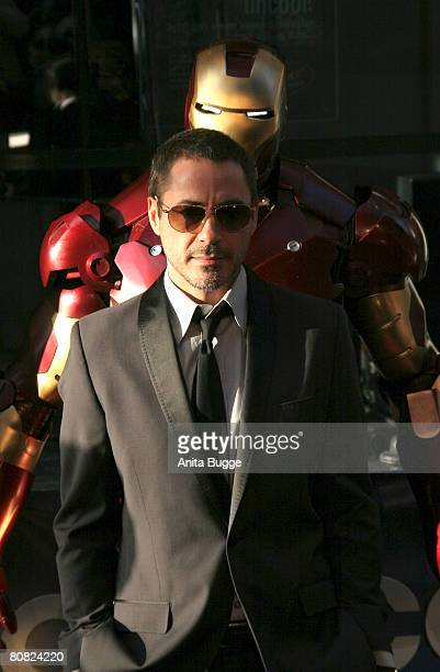 Actor Robert Downey Jr. Attends the premiere for the movie 'Iron Man' at the Cinemaxx on April 22, 2008 in Berlin, Germany.
