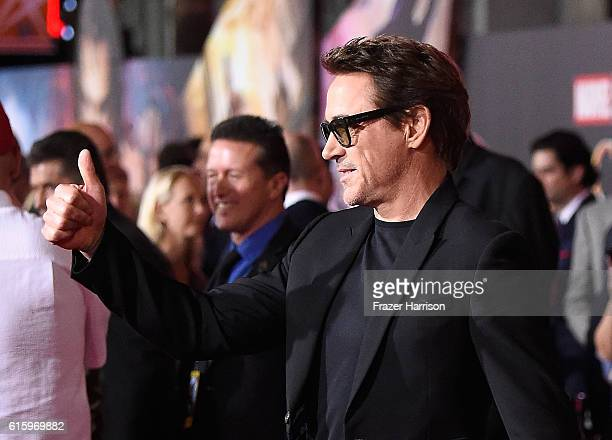 Actor Robert Downey Jr attends the Premiere of Disney and Marvel Studios' 'Doctor Strange' on October 20 2016 in Hollywood California