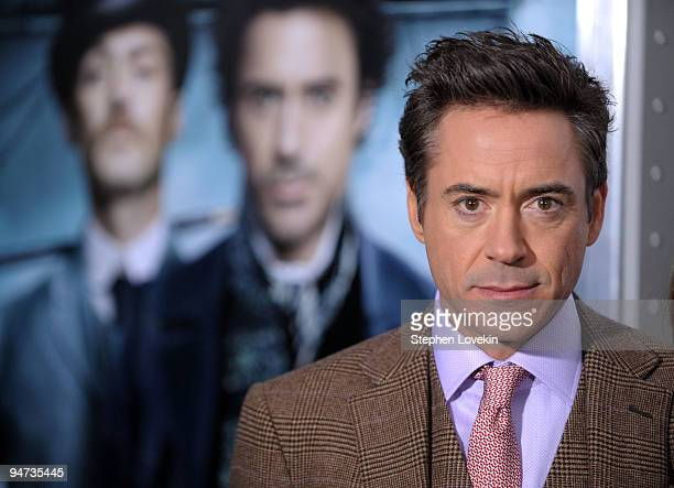 "Actor Robert Downey Jr. Attends the premiere of ""Sherlock Holmes"" at the Alice Tully Hall, Lincoln Center on December 17, 2009 in New York City."