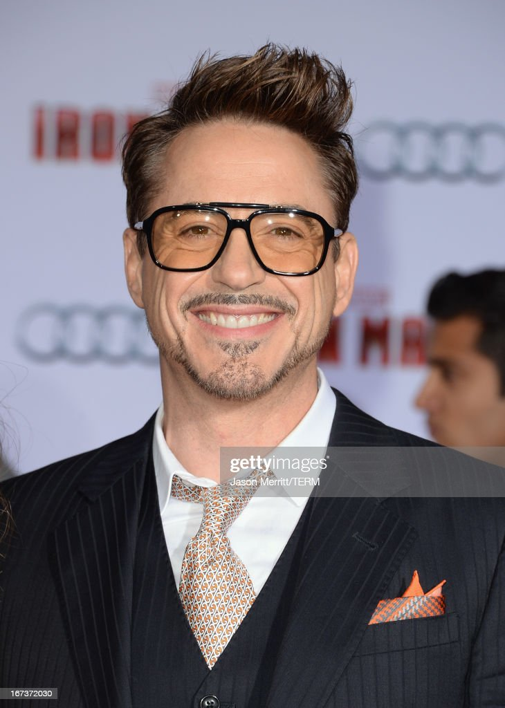 Actor Robert Downey Jr. attends the premiere of Walt Disney Pictures' 'Iron Man 3' at the El Capitan Theatre on April 24, 2013 in Hollywood, California.