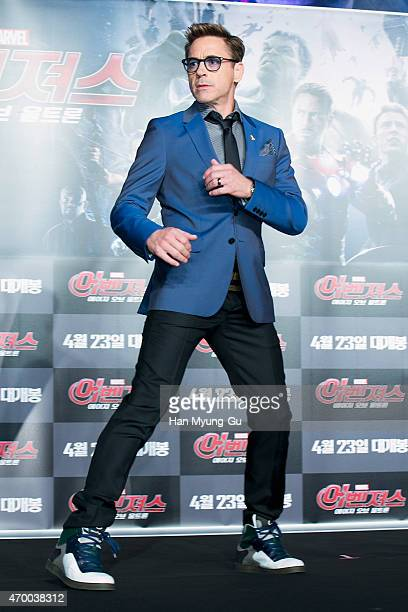 Actor Robert Downey Jr attends the press conference for 'Avengers Age Of Ultron' at Conrad Seoul on April 17 2015 in Seoul South Korea The film will...