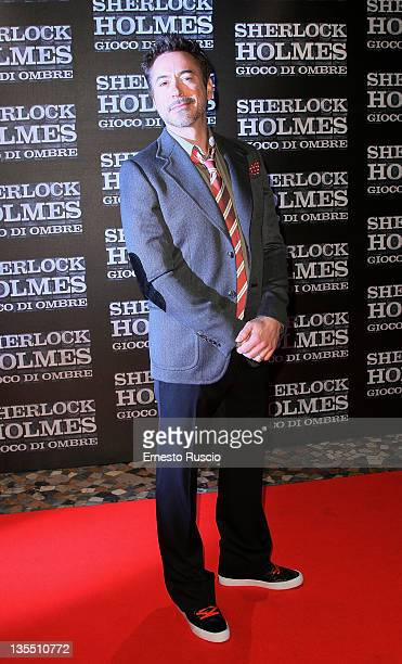 Actor Robert Downey Jr attends the ' Sherlock Holmes Games Of Shadows' premiere at Warner Moderno on December 11 2011 in Rome Italy