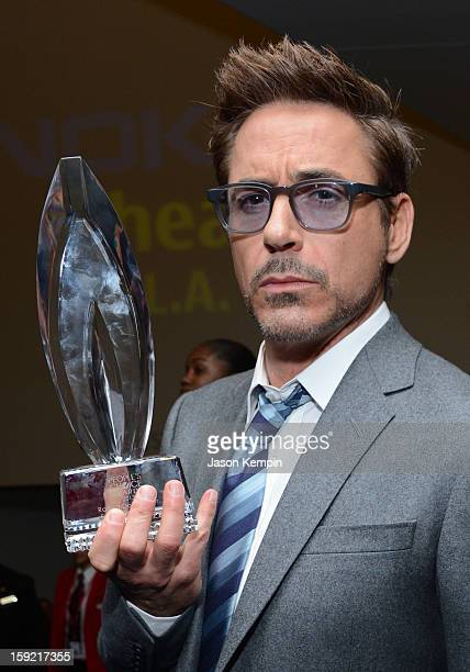 Actor Robert Downey Jr backstage at the 39th Annual People's Choice Awards at Nokia Theatre LA Live on January 9 2013 in Los Angeles California