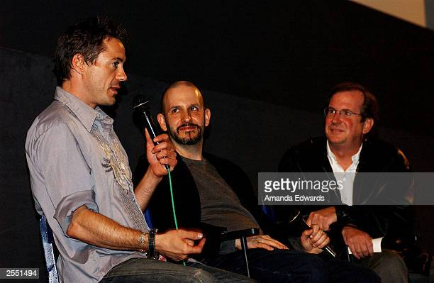 Actor Robert Downey Jr director Keith Gordon and film historian Pete Hammond attend a QA session following the Variety screening of The Singing...