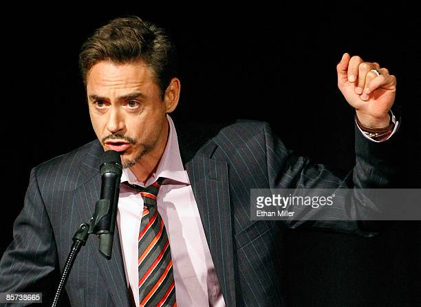 "Actor Robert Downey Jr. Introduces a clip of his upcoming film ""Sherlock Holmes"" at the Paris Las Vegas during ShoWest, the official convention of..."