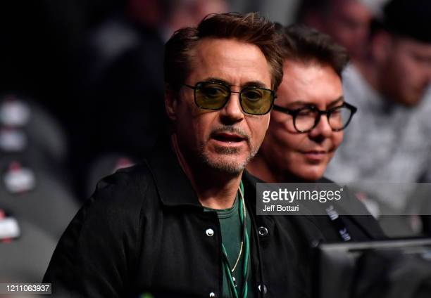 Actor Robert Downey Jr is seen in attendance during the UFC 248 event at TMobile Arena on March 07 2020 in Las Vegas Nevada