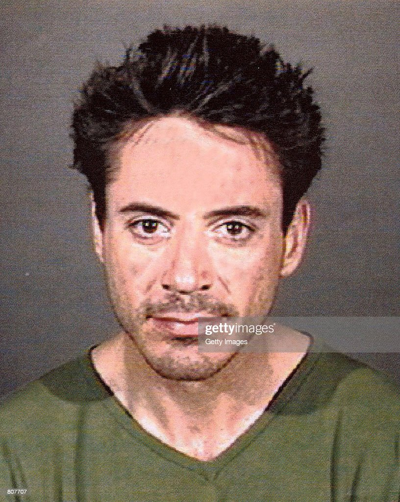 Actor Robert Downey, Jr. poses a for a police mug shot April 24, 2001 in Culver City, CA. The actor was arrested by officers of the Culver City Police Department for being under the influence of a controlled substance.
