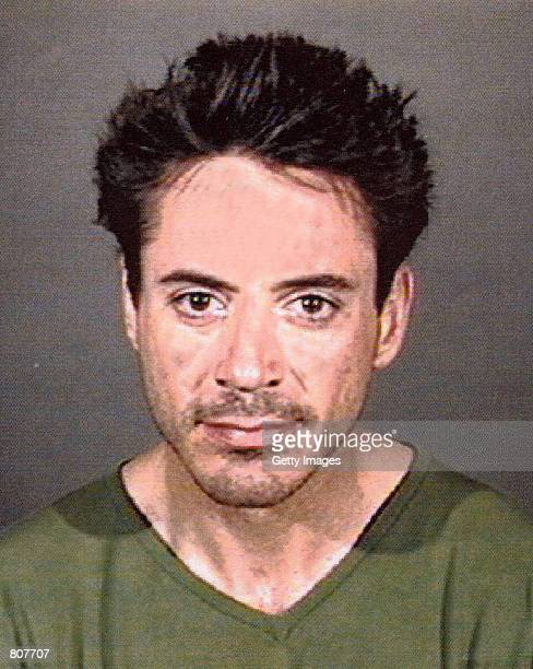 Actor Robert Downey Jr poses a for a police mug shot April 24 2001 in Culver City CA The actor was arrested by officers of the Culver City Police...