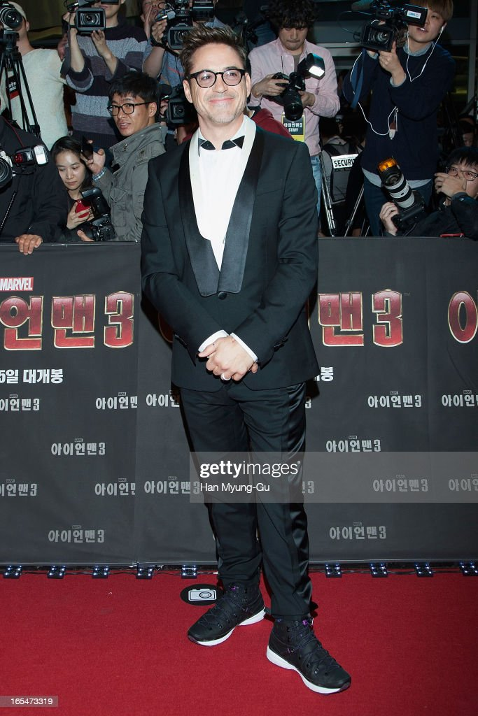 Actor Robert Downey Jr. poses for the media during the 'Iron Man 3' South Korea Premiere at Times Square on April 4, 2013 in Seoul, South Korea. Robert Downey Jr. is visiting South Korea to promote his recent film 'Iron Man 3' which will be released on April 25 in South Korea.