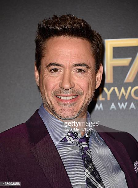 Actor Robert Downey Jr poses in the press room during the 18th Annual Hollywood Film Awards at The Palladium on November 14 2014 in Hollywood...