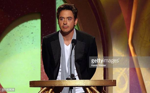 Actor Robert Downey Jr presents onstage at the 2006 TV Land Awards at the Barker Hangar on March 19 2006 in Santa Monica California