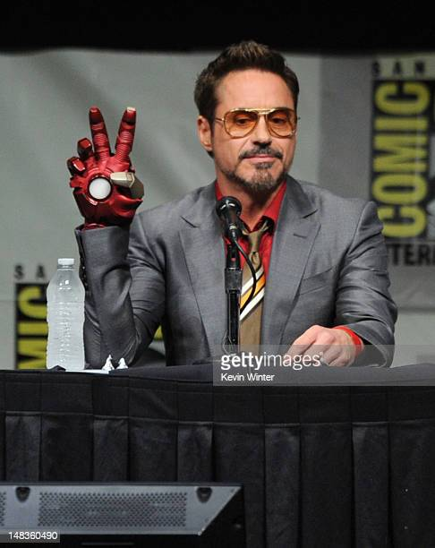 "Actor Robert Downey Jr. Speaks at Marvel Studios ""Iron Man 3"" panel during Comic-Con International 2012 at San Diego Convention Center on July 14,..."