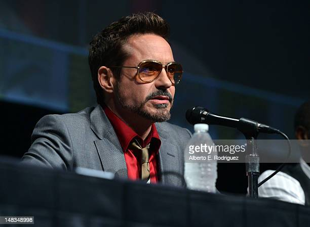 Actor Robert Downey Jr speaks at the Iron Man 3 panel with Marvel Studios during ComicCon International 2012 at San Diego Convention Center on July...