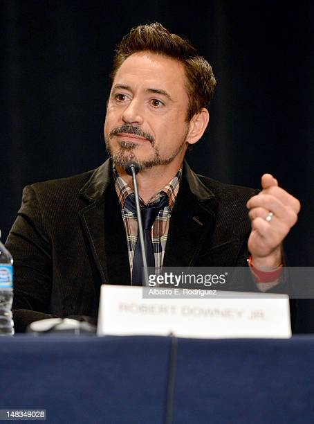 Actor Robert Downey Jr speaks at the 'Iron Man 3' press conference with Marvel Studios during ComicCon International 2012 at San Diego Convention...