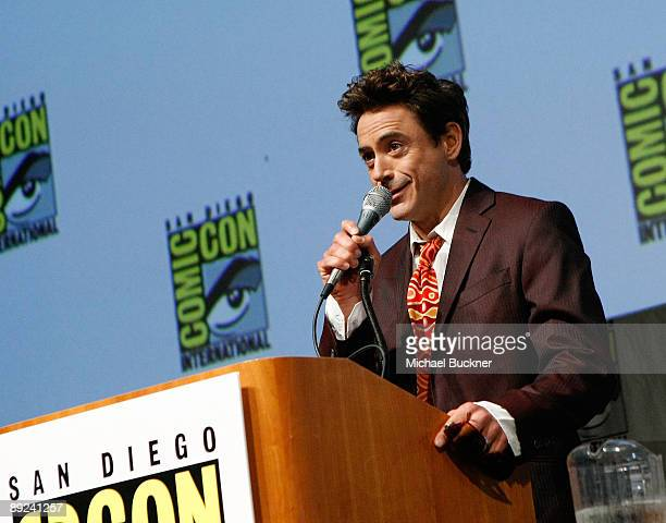 Actor Robert Downey Jr speaks during a presentation of Warner Bros' 'Sherlock Holmes' at ComicCon 2009 at the San Diego Convention Center on July 24...