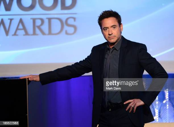 Actor Robert Downey Jr speaks onstage during the 17th annual Hollywood Film Awards at The Beverly Hilton Hotel on October 21 2013 in Beverly Hills...
