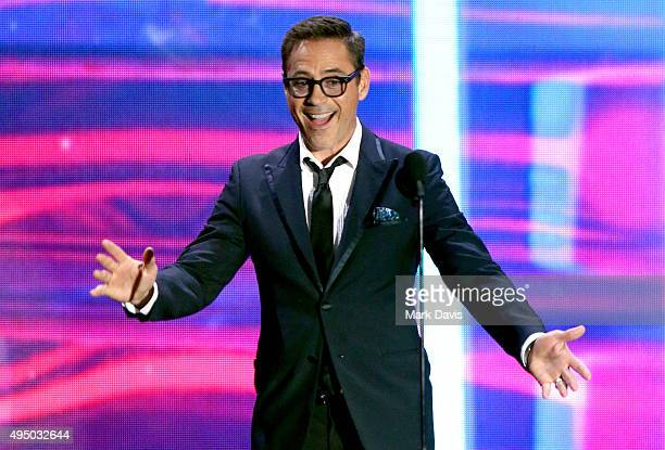 Actor Robert Downey Jr. Speaks onstage during the 2015 Jaguar Land Rover British Academy Britannia Awards presented by American Airlines at The...