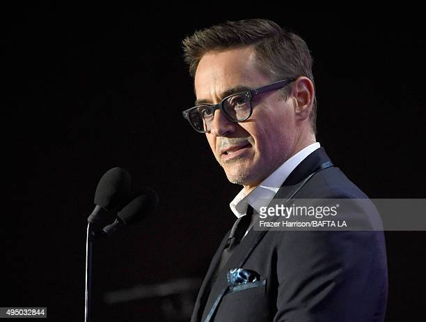 Actor Robert Downey Jr speaks onstage during the 2015 Jaguar Land Rover British Academy Britannia Awards presented by American Airlines at The...