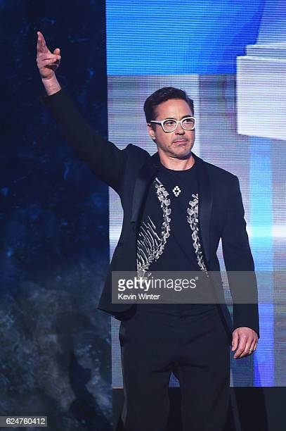 Actor Robert Downey Jr speaks onstage during the 2016 American Music Awards at Microsoft Theater on November 20 2016 in Los Angeles California