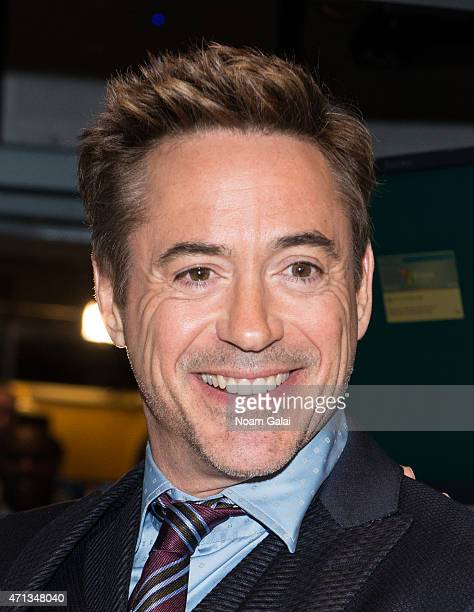 Actor Robert Downey Jr visits the New York Stock Exchange on April 27 2015 in New York City