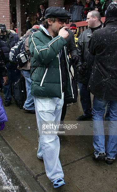 Actor Robert Downey Jr walks on Main Street during the 2006 Sundance Film Festival January 21 2006 in Park City Utah
