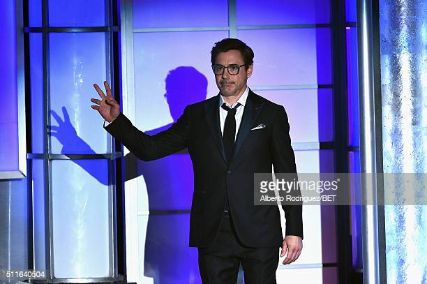 Actor Robert Downey Jr walks onstage during the 2016 ABFF Awards A Celebration Of Hollywood at The Beverly Hilton Hotel on February 21 2016 in...