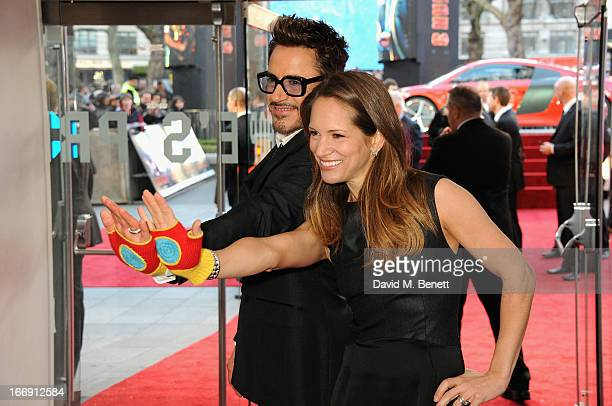 Actor Robert Downey Jr with his wife Susan attend the 'Iron Man 3' Special Screening at the Odeon Leicester Square on April 18 2013 in London England