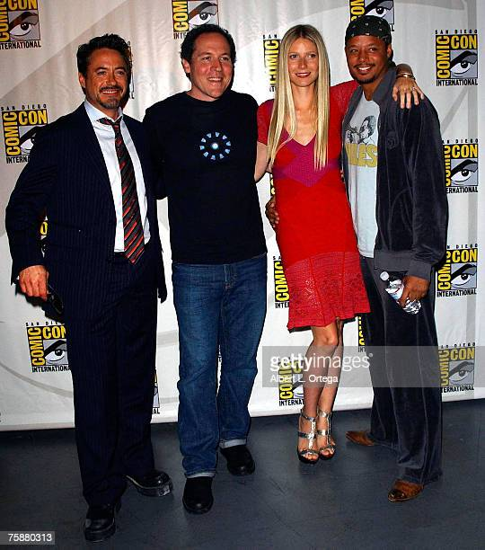 Actor Robert Downey Jrdirector Jon Favreau actress Gwyneth Paltrow and actor Terrence Howard of 'Iron Man' attend the 2007 ComicCon International on...