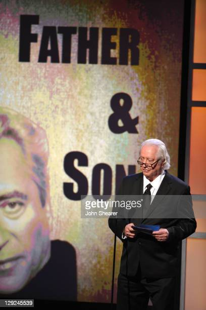 Actor Robert Downey Sr speaks onstage during The 25th American Cinematheque Award Honoring Robert Downey Jr held at The Beverly Hilton hotel on...