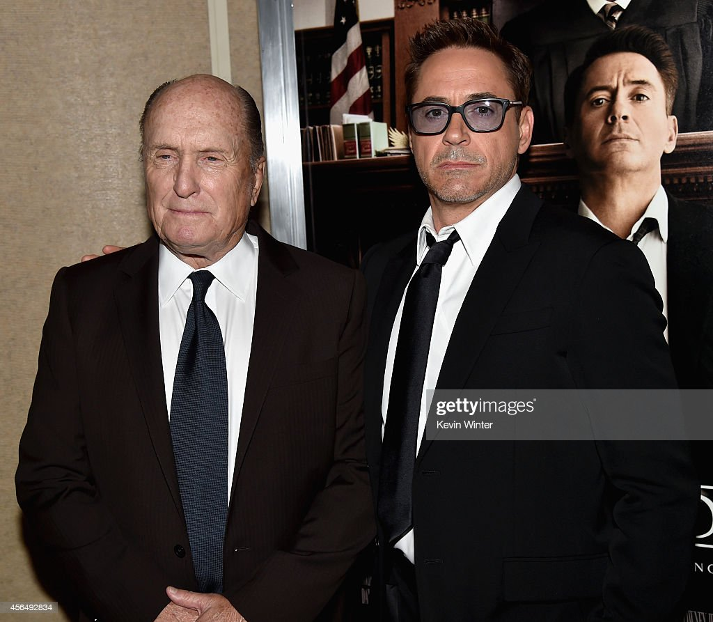 Actor Robert Duvall (L) and executive producer/actor Robert Downey Jr. attend the Premiere of Warner Bros. Pictures and Village Roadshow Pictures' 'The Judge' at AMPAS Samuel Goldwyn Theater on October 1, 2014 in Beverly Hills, California.