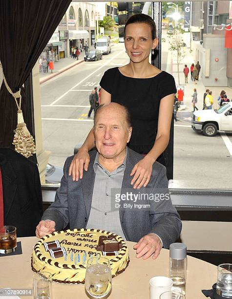 Actor Robert Duvall and his wife Luciana Pedraza celebrate his birthday at the Hand and Footprint Reception in his honor at the Roosevelt Hotel at...