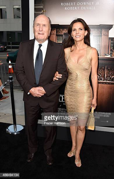 Actor Robert Duvall and wife Luciana Pedraza arrive for the Warner Bros Pictures and Village Roadshow Pictures' Premiere of the Judge at AMPAS Samuel...