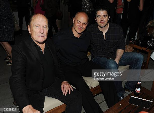 Actor Robert Duvall executive producer Joey Rappa and Aaron Schneider attend The Cinema Society Sony Alpha Nex screening after party for Get Low at...