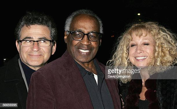 Actor Robert Guillaume poses with Murphy Cross and Paul Kreppel codirectors/cocreators of the production at the celebrity opening night of the...