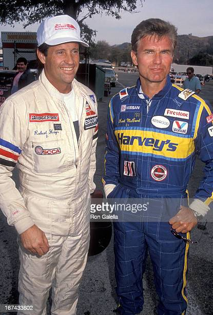 Actor Robert Hays and actor Kent McCord attend the Second Annual Reid Rondell Stunt Foundation's Enduro 100 Stock Car Race on October 6 1990 at the...