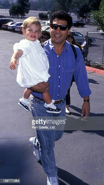 Actor Robert Hegyes and daughter Cassondra Hegyes attend Hollywood AllStars Baseball Game on August 26 1989 at Dodger Stadium in Hollywood California