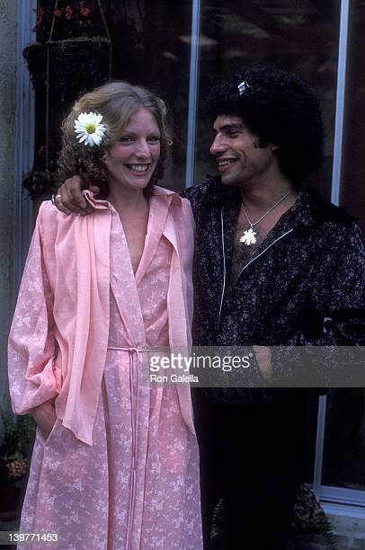 Actor Robert Hegyes and wife Mary Kunes attend Mary Kunes Fashion Show on March 19 1978 at their home in Beverly Hills California