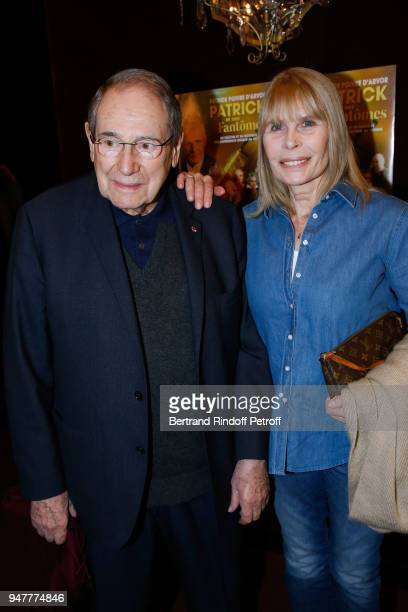 Actor Robert Hossein and his wife Candice Patou attend the Patrick et ses Fantomes Theater Play at Casino de Paris on April 17 2018 in Paris France