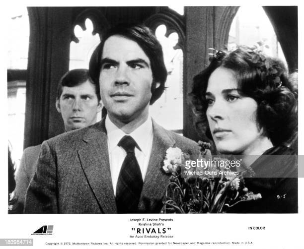 """Actor Robert Klein and actress Joan Hackett on set of the movie """"Rivals"""" in 1972."""