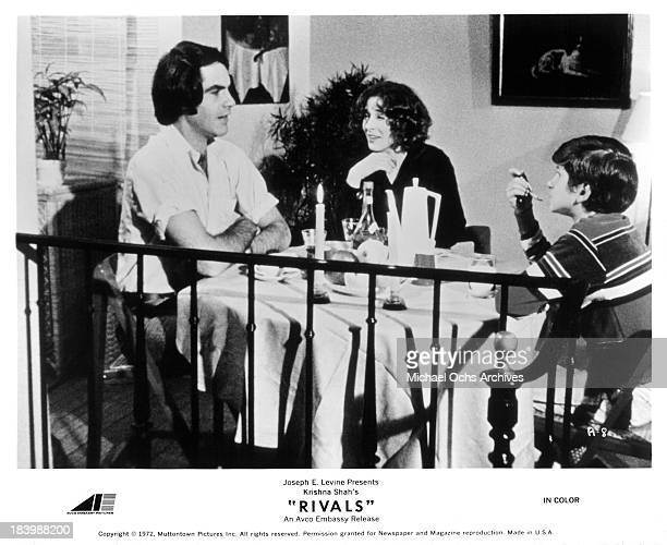 """Actor Robert Klein, and actress Joan Hackett with actor Scott Jacoby on set of the movie """"Rivals"""" in 1972."""