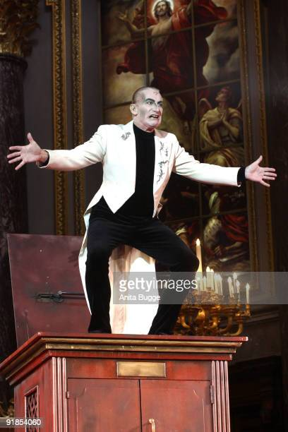 Actor Robert Kreis performs on stage during the 'Jedermann' dress rehearsal at the Berlin Cathedral Church on October 13, 2009 in Berlin, Germany.