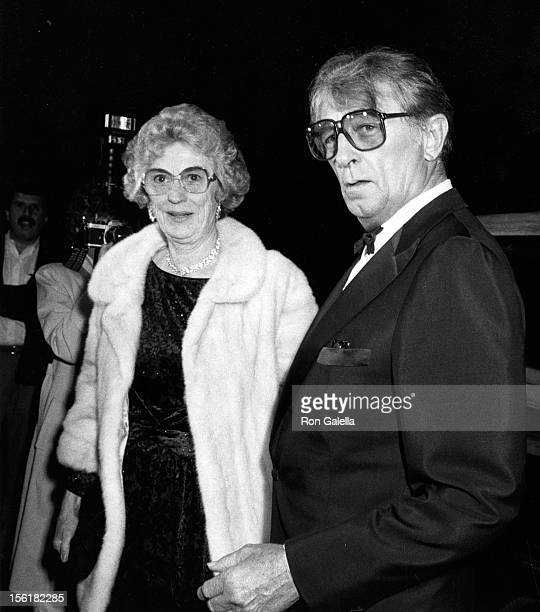 Actor Robert Mitchum and wife Dorothy Mitchum attend the premiere of 'Just Friends' on February 27 1986 at the Arlington Theater in Santa Barbara...