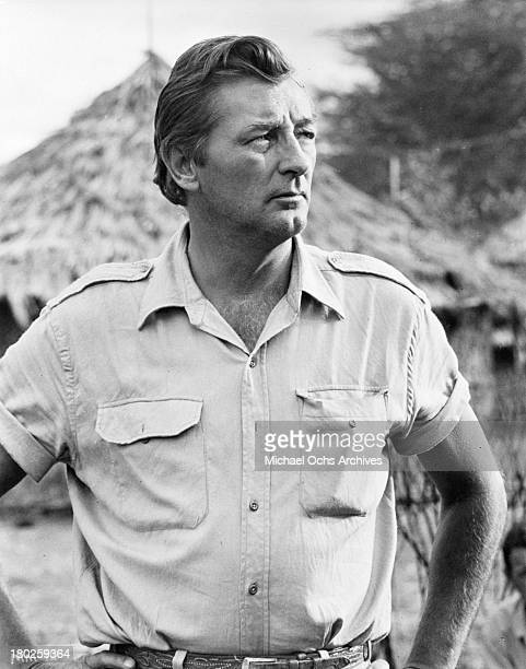Actor Robert Mitchum on the set of the movie Mister Moses in 1965