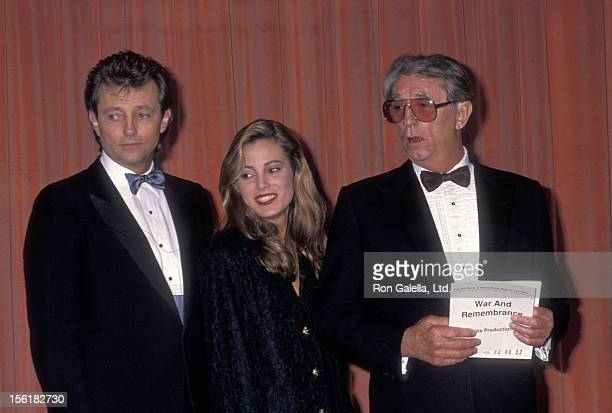 Actor Robert Mitchum son Christopher Mitchum and granddaughter Carrie Mitchum attend the 46th Annual Golden Globe Awards on January 28 1989 at...