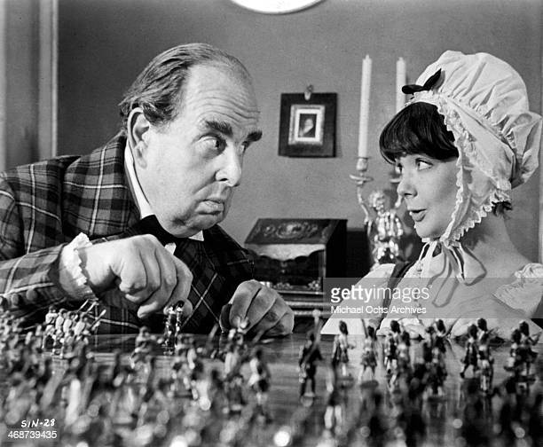 Actor Robert Morley and actress Pamela Franklin on set the movie 'Sinful Davey' circa 1969